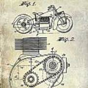 1943 Indian Motorcycle Patent Drawing Poster