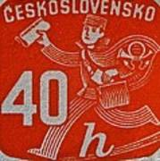 1945 Czechoslovakia Newspaper Stamp Poster