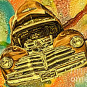 1948 Chev Gold Tie Dye Tilt Car Art Poster