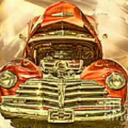 1948 Chev Red Gold Metal Art Poster
