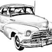 1948 Chevrolet Fleetmaster Antique Car Illustration Poster