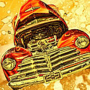 1948 Chevy Gold Acid Art Poster