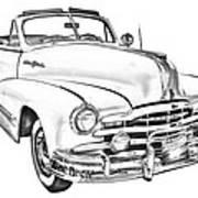 1948 Pontiac Silver Streak Convertible Illustration Poster