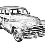 1948 Pontiac Silver Streak Woody Illustration Poster