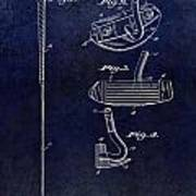 1949 Golf Putter Patent Drawing Blue Poster