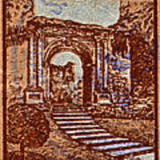 1949 San Francisco Ruins Dominican Republic Stamp Poster