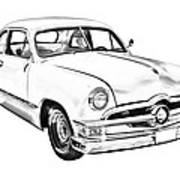 1950  Ford Custom Antique Car Illustration Poster