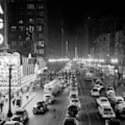 1950s 1953 Night Scene Of Chicago State Poster