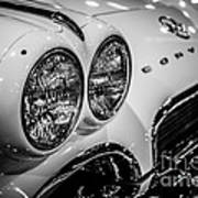 1950's Chevrolet Corvette C1 In Black And White Poster
