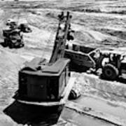 1950s Construction Site Excavation Poster