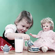 1950s Little Girl Toddler And Baby Doll Poster