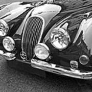 1951 Jaguar Xk120 In Black And White Poster