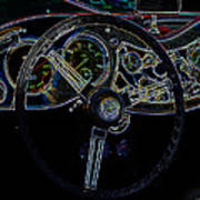 1951 Mg Td Dashboard_neon Car Art Poster