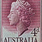1952-1958 Australia Queen Elizabeth II Stamp Poster