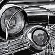 1953 Buick Super Dashboard And Steering Wheel Bw Poster