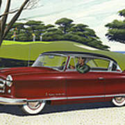 1953 Nash Rambler Car Americana Rustic Rural Country Auto Antique Painting Red Golf Poster