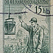 1954 Czechoslovakian Construction Worker Stamp Poster
