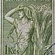 1954 Czechoslovakian Farm Woman Stamp Poster