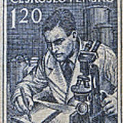 1954 Czechoslovakian Scientist Stamp Poster