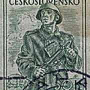1954 Czechoslovakian Soldier Stamp Poster