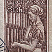 1954 Czechoslovakian Textile Worker Stamp Poster