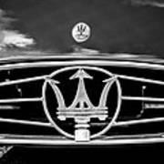 1954 Maserati A6 Gcs Grille Emblem -0259bw Poster