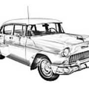 1955 Chevrolet Bel Air Illustration Poster