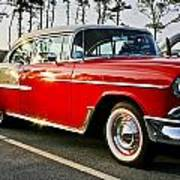 1955 Chevy Bel Air Down The Side - Red And White Poster