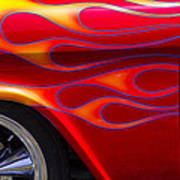 1955 Chevy Pickup With Flames Poster