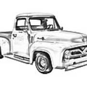 1955 F100 Ford Pickup Truck Illustration Poster