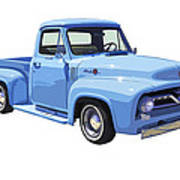 1955 Ford F100 Blue Pickup Truck Canvas Poster