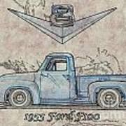 1955 Ford F100 Illustration Poster