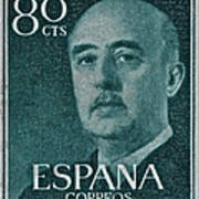 1955 General Franco Spanish Stamp Poster