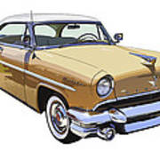 1955 Lincoln Capri Fine Art Illustration  Poster