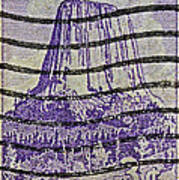 1956 Devils Tower National Monument Stamp Poster