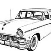 1956 Ford Custom Line Antique Car Illustration Poster