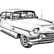 1956 Sedan Deville Cadillac Car Illustration Poster