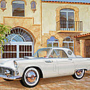1956 Thunderbird At Palm Beach  Classic Vintage Ford Art Sketch Rendering          Poster