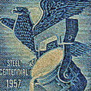 1957 America And Steel Growing Together Stamp Poster