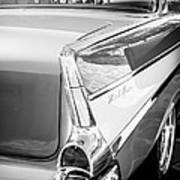 1957 Chevrolet Belair Coupe Tail Fin -019bw Poster