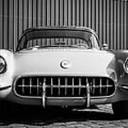 1957 Chevrolet Corvette -0010bw Poster