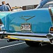1957 Chevy Bel Air Blue From Rear Poster