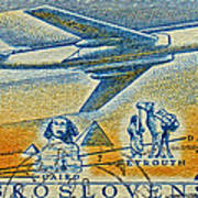 1957 Czechoslovakia Airline Stamp Poster
