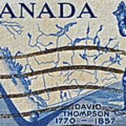 1957 David Thompson Canada Stamp Poster