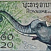 1958 Laos Elephant Stamp II Poster