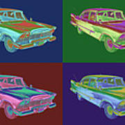 1958 Plymouth Savoy Classic Car Pop Art Poster