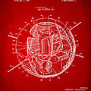 1958 Space Satellite Structure Patent Red Poster