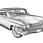 1960 Cadillac Luxury Car Illustration Poster