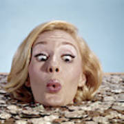 1960s Blond Woman Funny Facial Poster