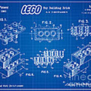 1961 Lego Building Blocks Patent Art 3 Poster